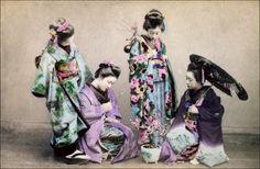 https://flic.kr/p/9PJeVv | Four Geisha | Japanese handtinted albumen print. Ca. 1900, unidentified photographer.