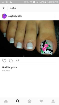Puntos negros Pretty Toe Nails, Cute Toe Nails, Pretty Toes, Pedicure Nail Art, Toe Nail Art, Manicure, Sexy Nail Art, Sexy Nails, Nails Only