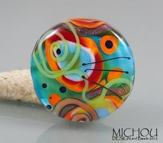 Ocean 2 Lampwork single bead by Michou P by michoudesign on Etsy, $49.00