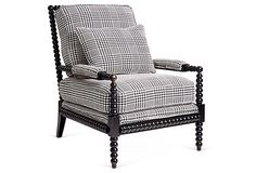 Helen Spindle Armchair, Black on OneKingsLane.com  Love the contrast between the fabric and the spindles.