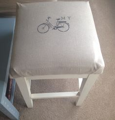 Upcycled stool. Burlap with bike stencil