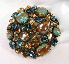 Huge Vintage Regency Saphiret Topaz Blue Rhinestone Brooch Pin Lovely | eBay