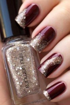 Modern nail design – to do this you need a nice Nail Polish color and matching glitter tiles
