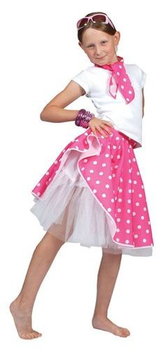 Girls 50s Pink Rock n Roll Skirt Grease Childs Fancy Dress Kids 1950s Outfit | eBay