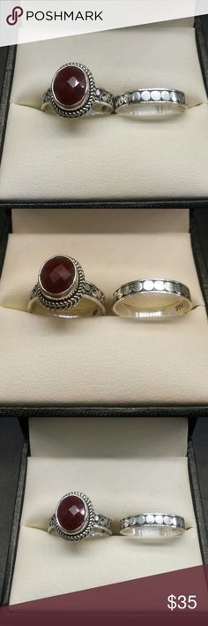 3.50ctw Genuine Ruby 925 Sterling Silver Ring Set BLACK FRIDAY DOORBUSTER - $35 Beautiful vintage 2 piece genuine Ruby ring set. 3.50 carats total weight natural Ruby. Solid 925 sterling silver ring set. estate 925 Jewelry Rings