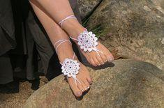 Adorno circular de ganchillo para pies descalzos