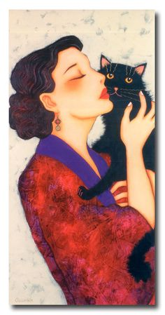 Aurélia, Corinne Reignier. Woman with black cat