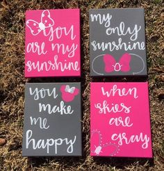You Are My Sunshine Disney Nursery Minnie Mouse Canvas Art Painting Calligraphy Little Girl Quote Gi - Minnie mouse bedroom, Toddler girl room, Minnie mouse nursery, Disney girl - Little Girl Quotes, Baby Girl Quotes, Little Girl Rooms, Minnie Mouse Room Decor, Minnie Mouse Nursery, Minnie Mouse Gifts, Mickey Mouse, Disney Themed Nursery, Baby Girl Nursery Themes