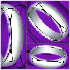 Milgrain Men's Wedding Ring in Palladium