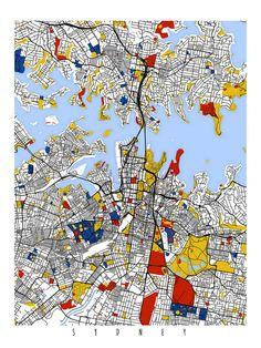 Sydney Map Art / Sydney, Australia Wall Art / Print / Poster / Modern Home Decor Australia Map, Sydney Australia, Anime Comics, Sydney Map, Map Quilt, Wall Art Prints, Poster Prints, Jr Art, Abstract City