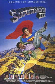 Superman III , starring Christopher Reeve, Richard Pryor, Margot Kidder, Jackie Cooper. Synthetic kryptonite laced with tobacco tar splits Superman in two: good Clark Kent and bad Man of Steel. #Action #Fantasy #Sci-Fi