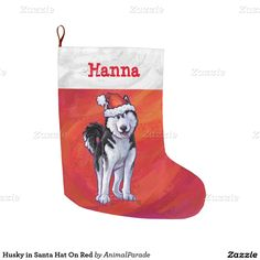 Husky in Santa Hat On Red Large Christmas Stocking by Animal Parade. You'll love this heads and tails double sided personalized stocking.