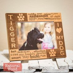 Personalized Dog Picture Frame Engraved on Wood-I Love My Dog by GiftedOak | Etsy