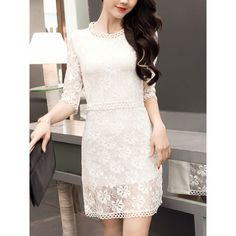 Round Neck Solid Lace Hollow Out Plain Bodycon Dress (2,460 INR) ❤ liked on Polyvore featuring dresses, bodycon cocktail dresses, 3 4 sleeve bodycon dress, white lace cocktail dress, 3 4 length sleeve dress and white body con dress