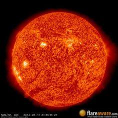 The hourly sun (at 09:45 pm  UTC on 17 February 2013)