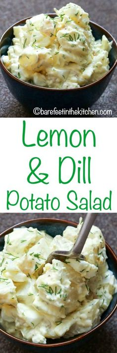 Lemony Dill Potato Salad is a refreshing twist on the classic potato salad! get the recipe at barefeetinthekitchen.com