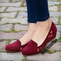 Bordo Taşlı Babet #flat #shoes