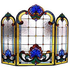 Tiffany Style Stained Glass Colorful Victorian Design Fireplace Screen x Victorian Fireplace Screens, Stained Glass Fireplace Screen, Decorative Fireplace Screens, Stained Glass Designs, Stained Glass Patterns, Stained Glass Art, Mosaic Glass, Leaded Glass, Beveled Glass
