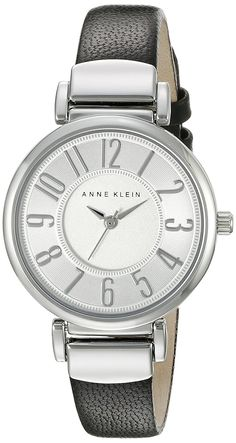 Anne Klein Women's AK/2157SVBK Easy To Read Silver-Tone and Black Leather Strap Watch -- Check out the watch by visiting the link.