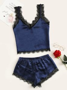 To find out about the Eyelash Lace Satin Pajama Set at SHEIN, part of our latest Night Sets ready to shop online today! Satin Pyjama Set, Satin Pajamas, Pajama Set, Lingerie Sleepwear, Lingerie Set, Womens Pyjama Sets, Cute Pajamas, Sexy Pajamas, Satin Cami