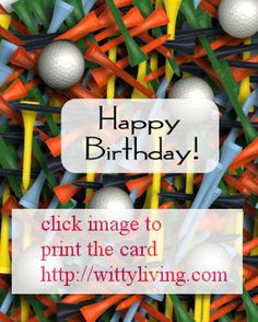 Free Printable Golf Tees Balls Brithday Card