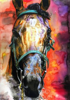 Horse watercolor painting, amazing colors - love it!