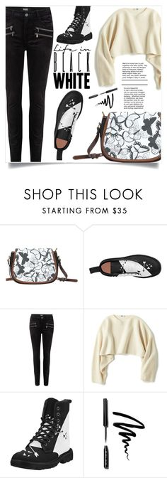"""Black and white!"" by samra-bv ❤ liked on Polyvore featuring Paige Denim, Uniqlo, Bobbi Brown Cosmetics, Boots, bag, polyvorecontest, polyvorefashion and polyvoreset"