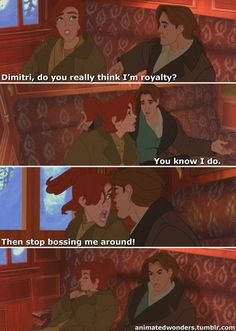 "Anastasia (Meg Ryan) & Dimitri (John Cusack) from ""Anastasia"". Then Anastasia sticks her tongue out at him. Anastasia Film, Dimitri Anastasia, Disney Anastasia, Anastasia Romanov, Anastasia Cartoon, Anastasia Cosplay, Anastasia Musical, Disney And Dreamworks, Disney Pixar"