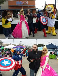 MD Pediatrics- Grand Opening- Captain America & Sleeping Beauty are joined by local Houston Celebrities- The King of Ding Ramon Robles from 740AM  & Sunny 99.1 DJ Rick Lovett.