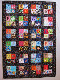 Hand Embroidery Free Hand Embroidery Quilt Block Patterns Free Embroidery Quilt Block Patterns Embroidery Machine Quilts Patterns Childs Embroidered Alphabet Quilt I Spy Quilt Quilt Baby, I Spy Quilt, Baby Quilt Patterns, Boy Quilts, Scrappy Quilts, Embroidery Patterns, Hand Embroidery, Machine Embroidery, Quilting Projects