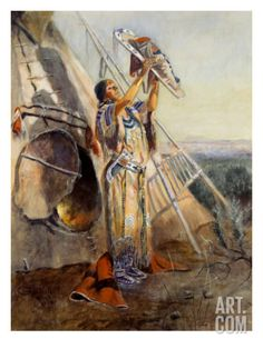 Sun Worship in Montana Print by Charles Marion Russell at Art.com