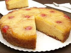 Pastel de piña invertido - MisThermorecetas Thermomix Desserts, Pineapple, Cheesecake, Good Food, Cooking Recipes, Favorite Recipes, Sweets, Lunch, Meals