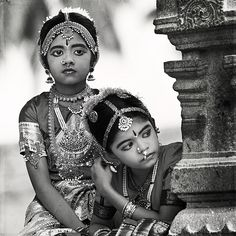 Girls in Bharatnatyam, a form of classical dance, costume.  State of Tamilnadu, India. Description by Pinner Mahua Roy Chowdhury