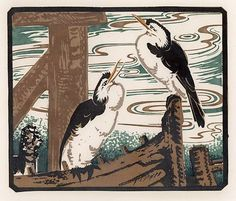 Australian Ethleen Palmer's work which was influenced by Japanese block prints. She eventually founded an that provided art therapy for veterans which operated until 1951. Created an extensive line of calendars and greeting cards.