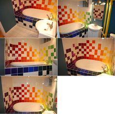interior design, home decor, bathrooms, rainbow, tiles