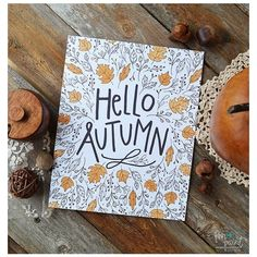 Hello Autumn, Happy Fall, Seasonal Decor, Give Thanks, Illustration,... ❤ liked on Polyvore featuring home, home decor, holiday decorations, autumn home decor, thanksgiving home decor and fall home decor