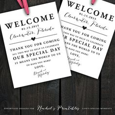 Custom Printable Wedding Welcome Bag Tags by RachelsPrintables on Etsy. Personalize with names, dates, location. So cute tied to welcome bags. Have hotel staff hand them out to guests at check in or have them waiting in their rooms! A nice touch for guests traveling a distance or to your destination wedding.