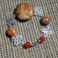 Boho Bracelet. Crazy Lace Agate and butterfly by BohoEarthDesigns, $22.00