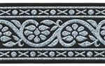 """1 1/2"""" Black Silver Fabric trim... comes in three other color combinations.  Black/Gold. Green/Gold. Green/Silver."""