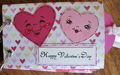 Valentine's Day Toilet paper roll album.  using Peachy Keen stamps and Whimsical Design stamps