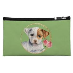 Puppy Holding Lotus Flower with Faux Gold Ring Makeup Bag - portrait gifts cyo diy personalize custom