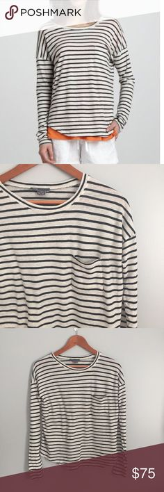 "Vince striped drop sleeve tee Super soft cotton drop sleeve tee.  Fits TTS.  24"" from shoulder to hem, 21"" bust.   No trades. Reasonable offers welcome Note: 20% off bundles of 2+ items in my closet! Vince Tops"