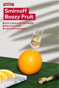 When you're trying to eat more fruit in 2019 but still drink vodka. Smirnoff Boozy Fruit Recipe: Get a Smirnoff mini bottle. Pop it in a fruit. Let it rest overnight. Party Drinks, Cocktail Drinks, Fun Drinks, Alcoholic Drinks, Cocktails, Healthy Drinks, Alcohol Drink Recipes, Low Carb Casseroles, Keto Friendly Desserts