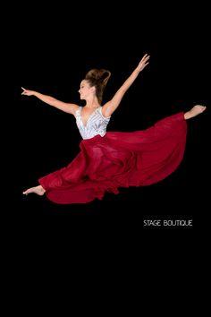 LYRICAL DRESS - SCARLET, $79, Red & Silver Laser Sequin Dance Costume, Lyrical Dress, Slow Modern Dance Costumes www.stageboutique.com