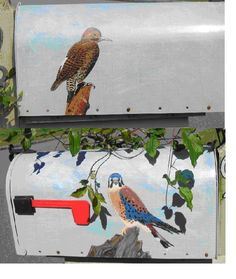My hand painted mail box now in use.