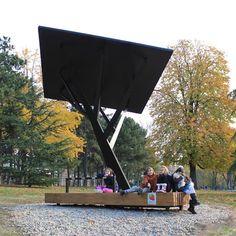 Black Tree, solar phone carger / bench / shelter (by Miloš Milivojevic)