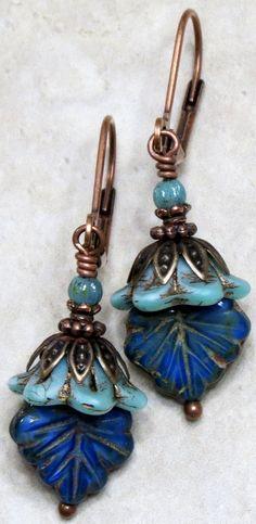 Blue Aqua Bell Flower Czech Glass Bead Dangle Earrings, Unique Boho Bohemian Jewelry.