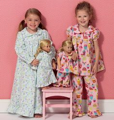 Sewing pattern Ellie Mae Designs for Girls pattern Pajama and Doll Pajama pattern by Kwik Sew Toddler Sewing Patterns, Kwik Sew Patterns, Doll Clothes Patterns, Toddler Fashion, Fashion Kids, Fashion Outfits, Nightgown Pattern, Kids Nightwear, Pajama Pattern