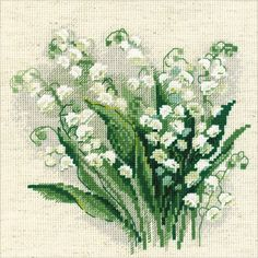 "Lilly Of The Valley Counted Cross Stitch Kit-8""X8"" 14 Count"