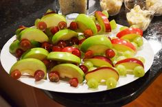 Cars made out of apples and grapes for birthday party
